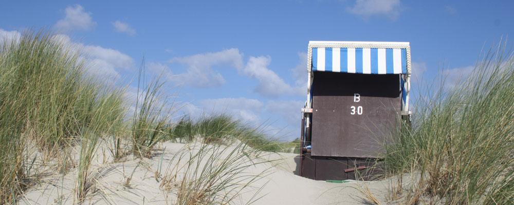 Botkum Urlaub Strandkorb in den Dühnen